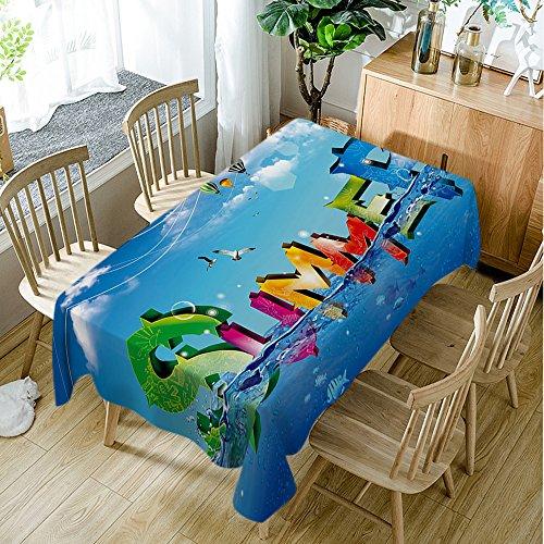 Moslion Tischdecke Baby mit Milchflasche, Kunstdruck-Dekor, rechteckig, 152,4 x 304,8 cm, Hellblau, Polyester-Mischgewebe, Type4, 60