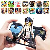 #6: Ocamo 1 Pairs Mobile Phone Gaming Trigger Fire Button Smartphone Shooter Controller for PUBG Black