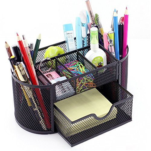 Vonimus - Organizador de escritorio, organizador de escritorio, organizador de oficina, metal, soporte para lápices (negro)