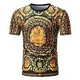 Sommer Männer Kurzarm Blumendruck Bohe Schlank Bluse T-Shirt Top