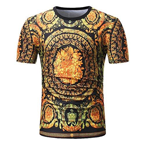 Sommer Männer Kurzarm Blumendruck Bohe Schlank Bluse T-Shirt Top -