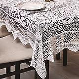 140x220 Rechteckig weiß Häkeltischdecke Tischdecke mit feinstem Häkel-Muster wunderbar elegant 100% Baumwolle Landhaus modern folk Denis