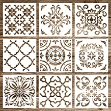 Whaline Mandala Plantillas Set Mandala Dotting Pintura Plantillas Herramienta para aerógrafo, muebles suelo azulejos,