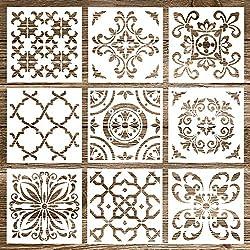 Whaline 9 Pack Mandala Stencils Tiles Template Set Reusable Stencils Mandala Dotting Painting Stencils Tool for Airbrush, Furniture Floor Tiles, Walls Art and Stone Rock Painting