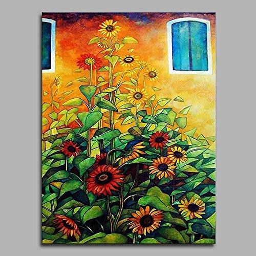 WJ-HOME Öl Malerei von Hand bemalt - Blumig/Botanischer Künstlerische rustikalen Modernen/zeitgenössischen Leinwand gehören Innerer Rahmen, 120 cm * 80 cm