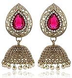 Shining Diva Pink Kundan Pearl Jhumki Jh...