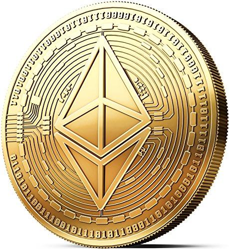Physische Ethereum Münze mit 24-Karat Echt-Gold überzogen. Wahres Sammlerstück mit Schutzhülle, Münzkapsel. Ein Muss für jeden Ethereum-Fan + GRATIS E-Book gegen Cyber-Attacken