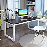 UEnjoy Computer Desk PC Laptop Table Workstation, Steel Frame Writing Desk with Movable Monitor Stand and File Shelf for Home Office, Black
