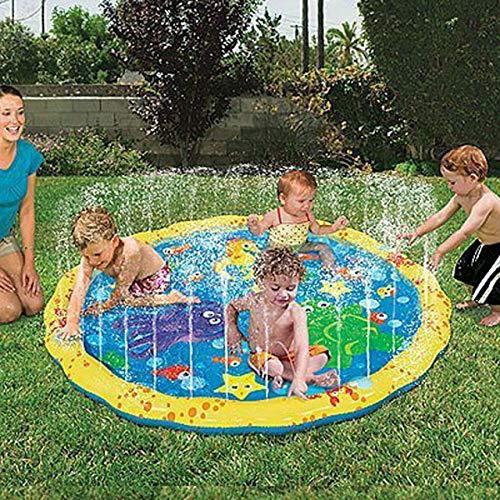 XuBa 100 cm Sommer Kinder Spielen Wasser Spiele Strandmatte Rasensprenger Kissen Spielzeug Kissen Spielzeug F\u00fcr Kinder EINWEG as picture show
