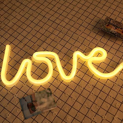Lumière De Nuit Au Néon d'amour en Forme De Lampe Blanche Chaude USB & Battery Alimenté Pas De Chaleur Accrochée pour Le Signe De Mariage,Décorationmurale(Chaud Amour Blanc)