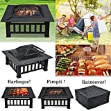 Popamazing 3 in 1 Outdoor Fire Pit With Cover Backyard Heater Patio Garden Metal Brazier Square Stove