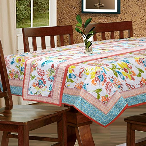 Cloth Fusion Cotton 6 Seater Table Cover (60x90 inches)