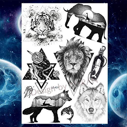 GHHCG Fox Wolf Tiere Körper Arm Wald Tattoos Aufkleber Geometrische Tatto Temporäre Make-up Big Tattoo Papier, Glz431