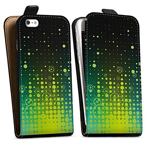 Apple iPhone X Silikon Hülle Case Schutzhülle Punkte Kreise Muster Downflip Tasche schwarz