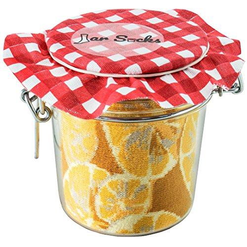 Rainbow Socks - Damen Herren - Zitronen und Erbsen mit Möhrchen Socken im Glas - Geschenk Idee - 2 Paar - Größen: EU 41-46 -