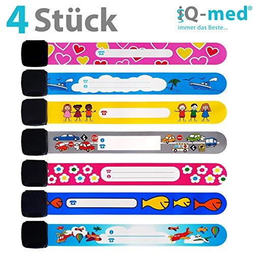 Notfall-Armband für Kinder von iQ-med® | 4er Set, wasserfest, mit jedem Kulli beschreibbar | wählbare Motive: Für Jungs, Mädchen oder gemischt | wiederverwendbar | Sicherheits ID Armband - Neugierig Kind