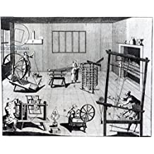 "Alu-Dibond-Bild 130 x 100 cm: ""The Second Plate of the Woollen Manufacture Exhibiting the Art of Spinning, Reeling, Warping and Weaving Woollen Cloth, engraved for The Universal Magazine, 1749 (engraving) (b&w photo)"", Bild auf Alu-Dibond"