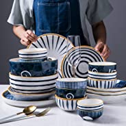 Ceramics Dinnerware Set with 30 Pieces,Bowl/Dish/Spoon|Stream Dyeing Series Dinner Sets,Nordic Minimalist Style Porcelain Co