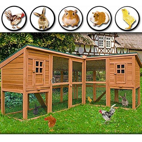 Deuba Kaninchenstall Hasenkäfig Kleintierstall Kaninchenkäfig Hasenstall Hühnerstall 4,43m Gesamtlänge