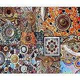decomonkey Fototapete Mosaik 250x175 cm XL Design Tapete Fototapeten Vlies Tapeten Vliestapete Wandtapete moderne Wand Schlafzimmer Wohnzimmer Orange FOB0175a5XL
