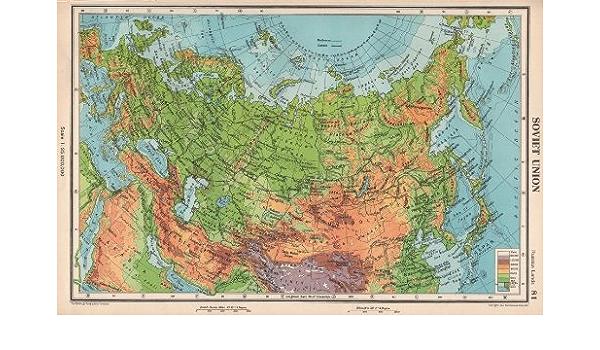 Cartina Urss.Antiqua Print Gallery Unione Sovietica Fisico Urss Ferrovie Bartholomew 1952 Old Map Mappa Antica Vintage Map Stampato Mappe Di Russia Amazon It Casa E Cucina