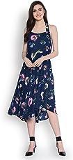 Abiti Bella Women's Indigo Fit and Flare Woven Dress