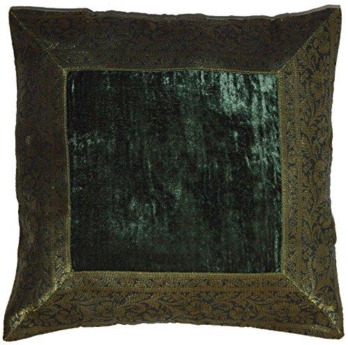 Deko Kissenbezug Kissenhülle Samt Brokat Asiatisch Indisch Orientalisch Bezug Kissen Dunkelgrün 40x40 cm