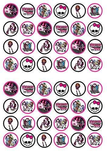 48 Monster High, Essbare PREMIUM Dicke GEZUCKERTE Vanille, Reispapier Mini Cupcake Toppers, Cake Pops, Cookies für Wafer (Cookie Monster Dekorationen)