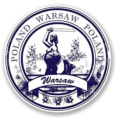 Preisvergleich Produktbild 2 x 10cm / 100mm Warschau Polen Vinyl Selbstklebende Sticker Aufkleber Laptop Reisen Gepäckwagen Cool Zeichen Spaß 4420