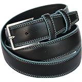 ITALOITALY - Cintura in Vera Pelle, Nera con Bordo Azzurro, ca. 3,5 cm, Produzione Artigianale, Made in Italy, Unisex, Accorc