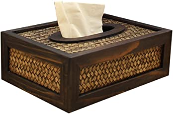 STOBOK Wooden Facial Tissue Box Cover - Rectangular Napkin Holder, Vintage Paper Container for Car Office Hotel Home