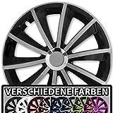 (Farbe und Größe wählbar) 16 Zoll Radkappen GRAL Bicolor (Schwarz-Silber) passend für fast alle Fahrzeugtypen – universal