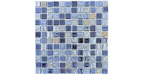 Mosaik Fliese ECO Recycling GLAS Enamel schwarz matt f/ür WAND BAD DUSCHE K/ÜCHE FLIESENSPIEGEL THEKENVERKLEIDUNG BADEWANNENVERKLEIDUNG Mosaikmatte Mosaikplatte 10 Mosaikmatten