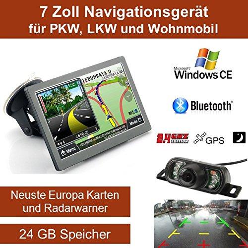 Elebest 7 Zoll,Windows CE Navigationsgerät, mit 24 GB Speicher, Für PKW,LKW,Wohnmobil,GPS,Navigation, 2,4 GHZ Funk Rückfahrkamera,Freisprecheinrichtung,Bluetooth,Kostenlose Kartenupdate,Radarwarner,Fahrspurassistent