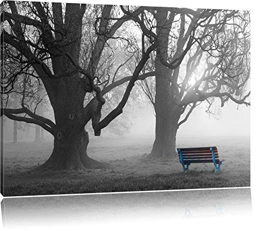 Einsame Bank im Nebel schwarz/weiß Format: 80x60 auf Leinwand, XXL riesige Bilder fertig gerahmt mit Keilrahmen, Kunstdruck auf Wandbild mit Rahmen, günstiger als Gemälde oder Ölbild, kein Poster oder Plakat