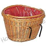 Fahrradkorb mit Haltebügeln und Einlage (rot) Weide Einkaufskorb Lenker Lenkerkorb Weidenkorb