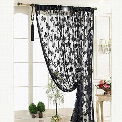 Hukz Neue Schwarz Tür Fenstervorhang Raumteiler Streifen Quaste Schmetterling Muster(100 * 200cm) (Schwarz) (Rüschen-gardinen Lila)