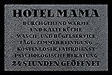 FUSSMATTE Türmatte HOTEL MAMA Muttertag Geschenk Spruch 60x40 cm Schmutzmatte Dunkelgrau