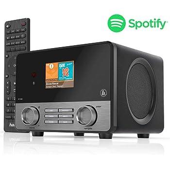 """Hama IR110MS Internetradio (Spotify, WLAN, USB, Multiroom, 30 Favoritenplätze, Wifi-Streaming, beleuchtetes 2.6"""" Farbdisplay, integr. Radio-Wecker, mit Fernbedienung, gratis UNDOK Radio-App) schwarz"""