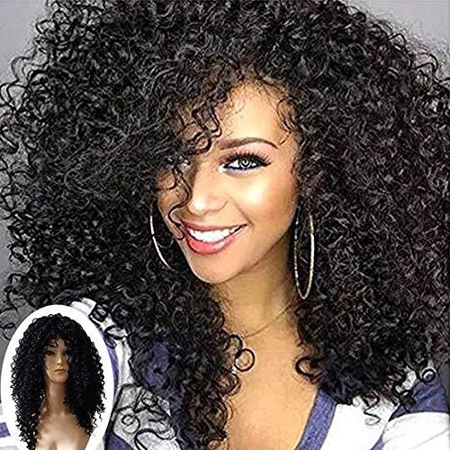 Oyedens Locken Kopf Perücken Explosionskopfes NatüRliches Schwarzes Rosennetz, Tiefes Lockiges HitzeBeständiges Synthetische Haar-Perücken Für Mode-Frauen