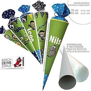 Schultüte, Zuckertüte in 70 cm oder 85 cm, hellgrün mit türkisen Punkten inklusive Papprohling mit vielen Personalisierungsmöglicheiten, als Kuschelkissen weiter nutzbar