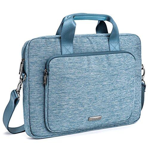 Laptophülle | Evecase 15.6 Zoll Universal Neoprene Gepolsterte Notebook Briefcase Laptop Schutzhülle mit Anzug-Gewebe / Ablösbaren Träger / Handgriff / Frontfach / Zubehörfächer für Lenovo Asus Acer HP - Blau