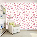 #10: 100yellow Pink Butterfly Wallpaper Pattern (Self Adhesive) Peel and Stick Waterproof HD Wallpaper For Home Wall & Girls room, - 5.5 Sqft