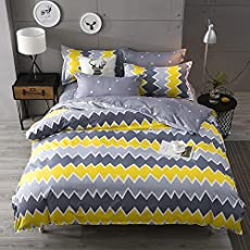 Ahmedabad Cotton Comfort Cotton Double Bedsheet with 2 pillow covers - Yellow & Grey