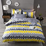 #10: Ahmedabad Cotton Comfort 144 TC Cotton Bedsheet with 2 Pillow Covers - King Size, Yellow and Grey