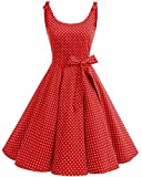 bbonlinedress 1950er Vintage Polka Dots Pinup Retro Rockabilly Kleid Cocktailkleider Red White Dot 3XL