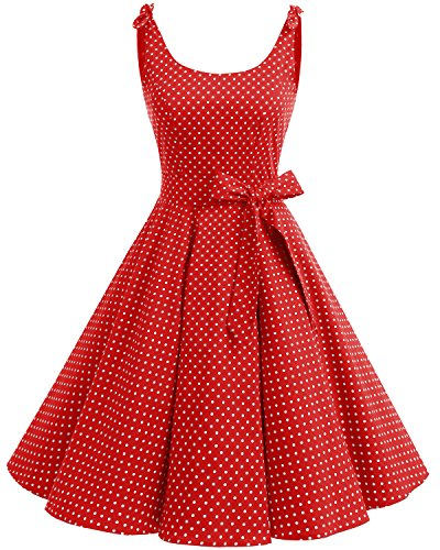 bbonlinedress 1950er Vintage Polka Dots Pinup Retro Rockabilly Kleid Cocktailkleider Red White Dot S (Damen Mode Jahre 50er)