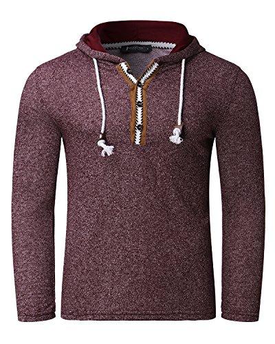 MODCHOK Herren Kapuzepullover Langarmshirt Hoodie Oversize T-Shirt Sweatshirt Hoody Fitness Rotwein
