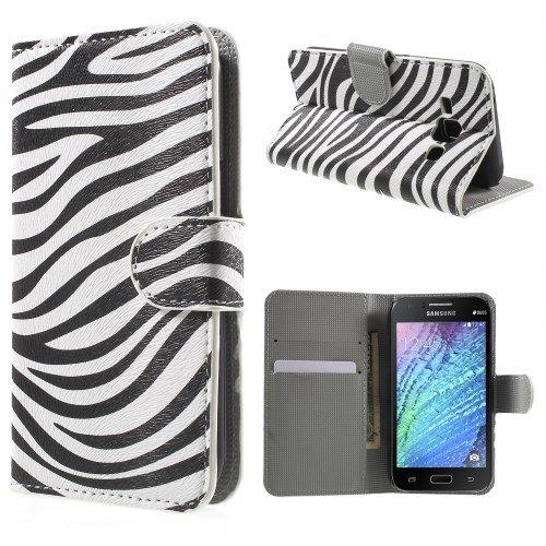 jbTec® Flip Case Handy-Hülle zu Samsung Galaxy J1 / SM-J100 - BOOK MOTIV - Handy-Tasche, Schutz-Hülle, Cover, Handyhülle, Ständer, Bookstyle, Booklet, Motiv / Muster:Zebra Muster