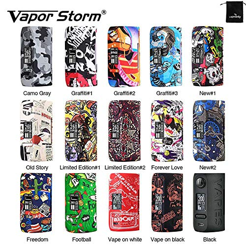 Cigarrillo electrónico Vapor Storm Puma 200W TC MOD Graffiti Box Big Power Vape, Sin líquido, Sin nicotina (Gris)